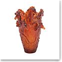 Daum Magnum Horse Vase in Amber, Limited Edition