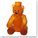 Daum Small Ritz Paris Teddy Bear in Amber Sculpture