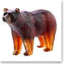 Daum Bear in Dark Amber Sculpture