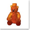 Daum Large Ritz Paris Teddy Bear in Amber Sculpture