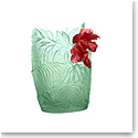 Daum Large Hibiscus Vase in Light Green and Red, Limited Edition