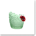 Daum Medium Hibiscus Vase in Light Green and Red, Limited Edition