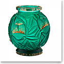 Daum Large Empreinte Vase in Green and Gold, Limited Edition