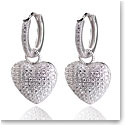 Cashs Ireland, Crystal Pave Sterling Silver Heart Hoop Pierced Earrings, Pair