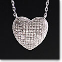 Cashs Ireland, Crystal Pave Sterling Silver Heart Pendant Necklace