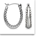 Nambe Jewelry Silver Braid Hoop Earrings, Pair