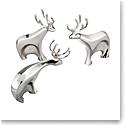 Nambe Christmas Dasher Reindeer, Set of Three