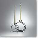 Nambe Metal Globe Candlestick, Pair - 1 Large, 1 Small