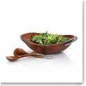 Nambe Metal and Wood Braid Salad Bowl With Servers