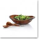 Nambe Metal and Wood Braid Salad Bowl With Servers