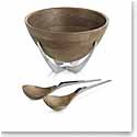 Nambe Metal and Wood Cabo Salad Bowl w/ Servers