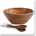 Nambe Wood and Metal Eclipse Salad Bowl with Servers