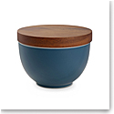 Nambe Prism Candle Bowl with Lid Aurora Blue