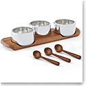Nambe Triple Condiment Server and Spoons