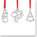 Nambe Mini 2020 Ornaments Santa,Tree, Snowman, Set of 3