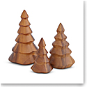 Nambe Deck the Halls Wood Christmas Tree Set of Three