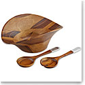 Nambe Ripple Gourmet Wood Salad Bowl with Servers