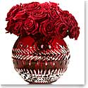 "Waterford Crystal, Jeff Leatham Fleurology Meg Ruby Cased 12"" Crystal Rose Bowl"