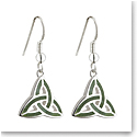 Cashs Ireland, Sterling Silver Connemara Marble Trinity Knot Drop Earrings