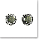 Cashs Ireland, Sterling Silver Connemara Marble Round Stud Earrings