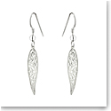 Cashs Ireland, Sterling Silver Long Trinity Knot Twist Earrings