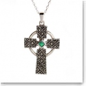Cashs Ireland, Sterling Silver Cross Pendant With Emerald Gemstone Necklace