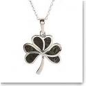 Cashs Ireland, Sterling Silver and Connemara Marble Shamrock Pendant Necklace