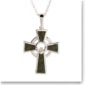 Cashs Connemara Marble Sterling Silver Claddagh Cross Pendant Necklace