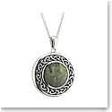 Cashs Ireland, Sterling Silver and Connemara Marble Round Celtic Pendant Necklace