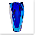 "Moser Crystal Gema Vase 10"" Aquamarine and Cobalt Blue"