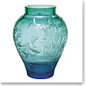 "Moser Crystal Lake World Vase 13"" Aquamarine and Green"