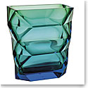 "Moser Crystal Polygon Vase Narrow 10.2"" Aquamarine and Green"