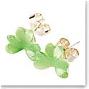 Belleek Porcelain Shamrock Green Earrings, Pair