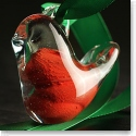 Cashs Ireland, Crystal Art Glass Forty Shades of Green, 2018 Red Christmas Bird Ornament