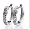 Cashs Crystal Pave Sterling Silver Circle Pierced Earrings Pair