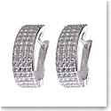 Cashs Ireland, Crystal Pave Sterling Silver Flat Hoop Pierced Earrings, Pair