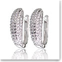 Cashs Crystal Pave Sterling Silver Hoop Pierced Earrings Pair