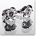 Cashs Ireland, Crystal Sterling Silver Irish Rose Solitaire Pierced Earrings Pair