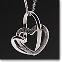 Cashs Ireland, Sterling Silver Two Hearts Pendant Necklace
