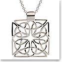 Cashs Ireland, Sterling Silver Square Celtic Knot Pendant Necklace