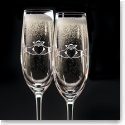 Cashs Ireland, Claddagh Crystal Champagne Toasting Crystal Flutes, Pair