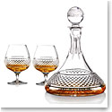 Cashs Crystal Cooper Captain's Set, Ships Decanter and Pair of Brandy Glasses