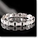 Cashs Ireland, Sterling Silver Crystal Pave Cubist Link Soft Bracelet