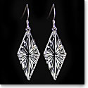 Cashs Ireland, Diamond Newgrange Drop Crystal Earrings, Sterling French Hook, Pair