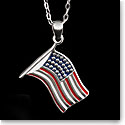 Cashs Ireland, Sterling Silver US Flag Pendant Necklace