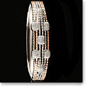 Cashs Ireland, Crystal Pave Sterling Silver and Rose Gold Modern Hinged Bracelet