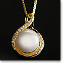 Cashs Ireland, White Luster Pearl Teardrop Gold Necklace