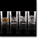 Cashs Ireland, Single Malt Whiskey Mixed Patterns, Set of Four Crystal Glasses
