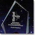 "Crystal Blanc, Personalize! 6"" Jade Crystal Summit Award"