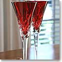 Waterford Lismore Jewels Crimson Toasting Flute, Pair